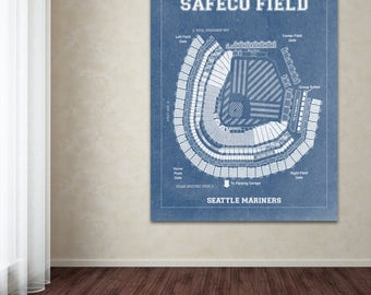 Print of Vintage Safeco Field Seating Chart on Photo Paper, Matte paper or Canvas