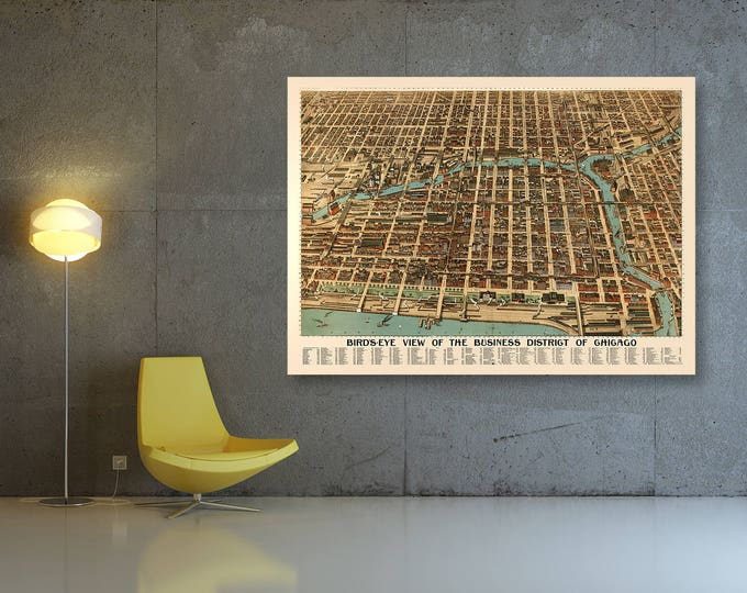 Print of Antique Map of Business District of Chicago on Photo Paper Matte Paper or Stretched Canvas