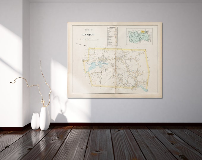 Print of Antique Map of the Town of Acushnet Massachusetts  on Photo Paper, Matte Paper and Stretched Canvas