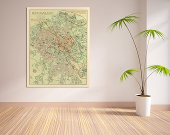 Print of Antique Map of Jerusalem on Matte Paper, Photo Paper, or Stretched Canvas. Free Shipping!