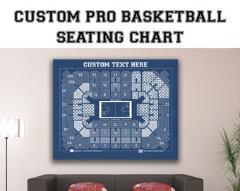 Vintage Print of Custom Pro Basketball Seating Chart on Premium Photo Luster Paper Heavy Matte Paper, or Stretched Canvas. Free Shipping!