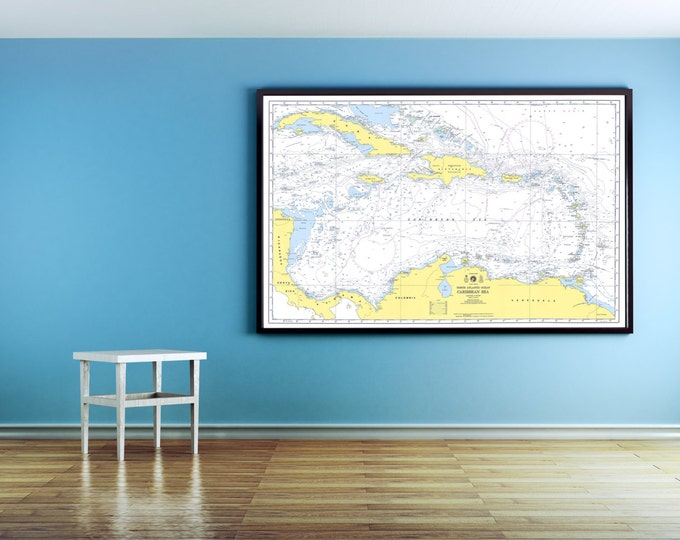 Print of Antique Map of the Carribean Sea on Photo Paper Matte Paper or Stretched Canvas