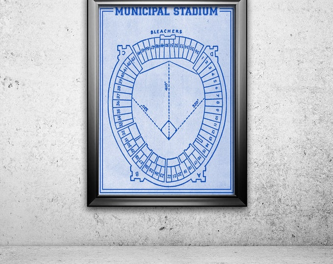 Print of Vintage Cleveland Municipal Stadium Seating Chart on Photo Paper, Matte paper or Canvas