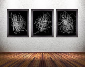 Set of 3 Minimalistic Abstract Line Art Prints on Premium Photo Paper, Stretched Canvas, or 300 GSM Heavy Matte Paper