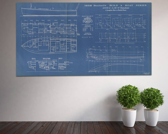 Print of Vintage Anita-A Boat Blueprint from Motor Boating's Build a Boat Series on Your Choice of Matte Paper, Photo Paper, or Canvas