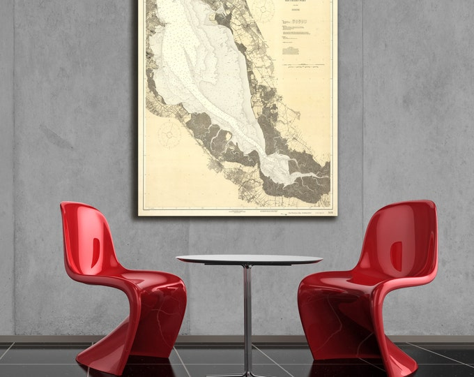 Antique Print of the Southern San Francisco Bay on your choice of Photo Paper, Matte Paper or Stretched Canvas