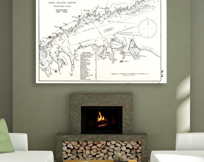 Antique Print of Long Island Sound Chart(Western Part) on your choice of Photo Paper, Matte Paper or Canvas Giclee