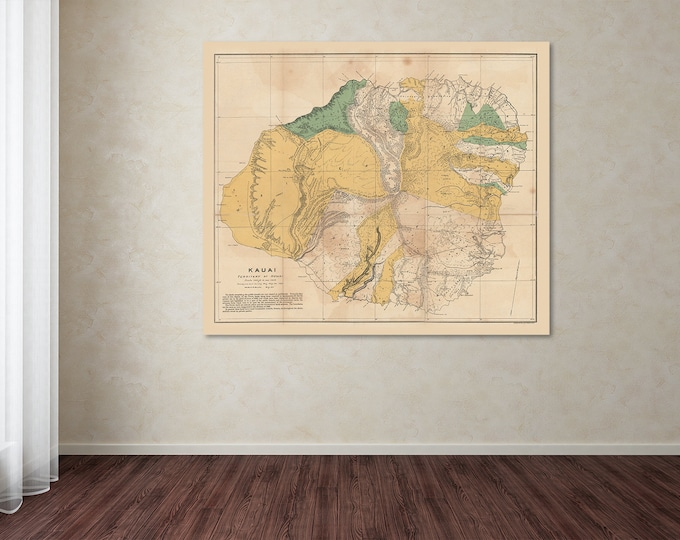 Print of Antique World Map of Kauai, Hawaii on Photo Paper, Matte Paper and Stretched Canvas
