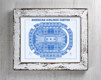 Vintage Print of American Airlines Center Seating Chart on Premium Photo Luster Paper Heavy Matte Paper, or Stretched Canvas. Free Shipping!