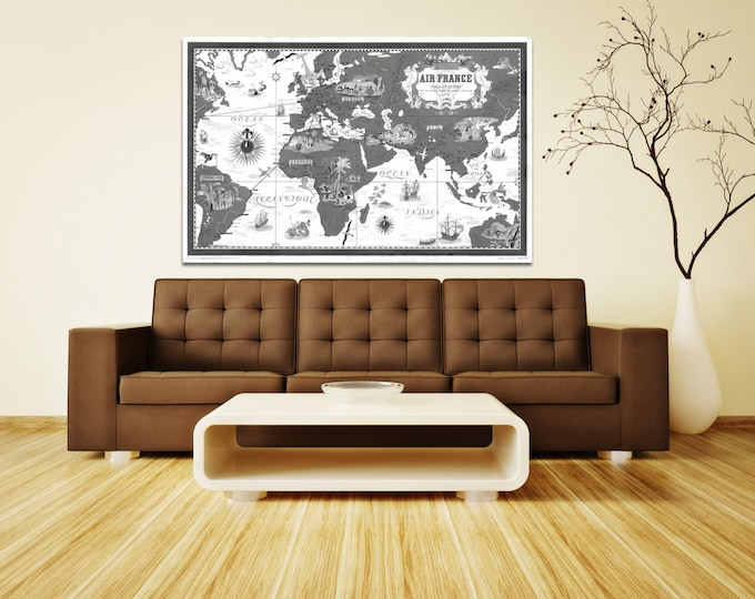 Vintage Antique New World Air France World Map Airline Plane on photo paper Matte paper Canvas Art Home Decor Giclee Print