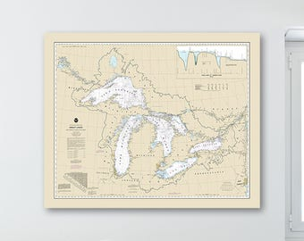 Print of Antique Great Lakes Nautical Chart on Photo Paper, Matte Paper, and Stretched Canvas
