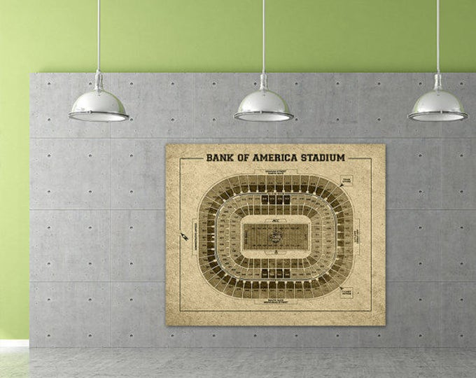 Vintage Style Print of Bank of America Stadium Seating Chart on Photo Paper, Matte Paper, or Stretched Canvas