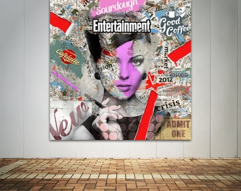 Print of abstract collage art featuring female face with text printed on canvas, photo paper or matte paper