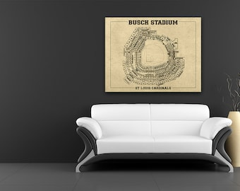 Busch Stadium Vintage Baseball Field Print Blueprint Photo Paper, Matte or Canvas Sports Cardinals St Drawing Memorabilia Wall Art Decor