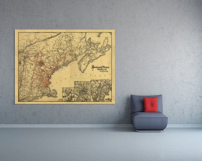 Print of Antique Map of Boston and Maine Railroad and Connections on Photo Paper, Matte Paper or Stretched Canvas