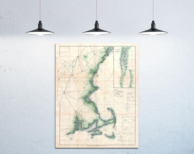Antique map of Cape Cod, Martha's Vineyard, and Nantucket Massachusetts on Your Choice of Matte Paper, Photo Paper, Stretched Canvas