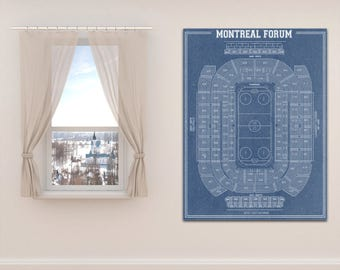 Print of Vintage Montreal Forum Seating Chart on Your Choice of Photo Paper, Matte Paper, or Stretched Canvas