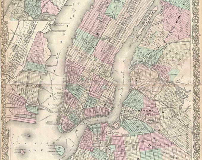 Vintage Print of Manhattan 1800s New York City Map on Matte Paper, Photo Paper or Stretched Canvas