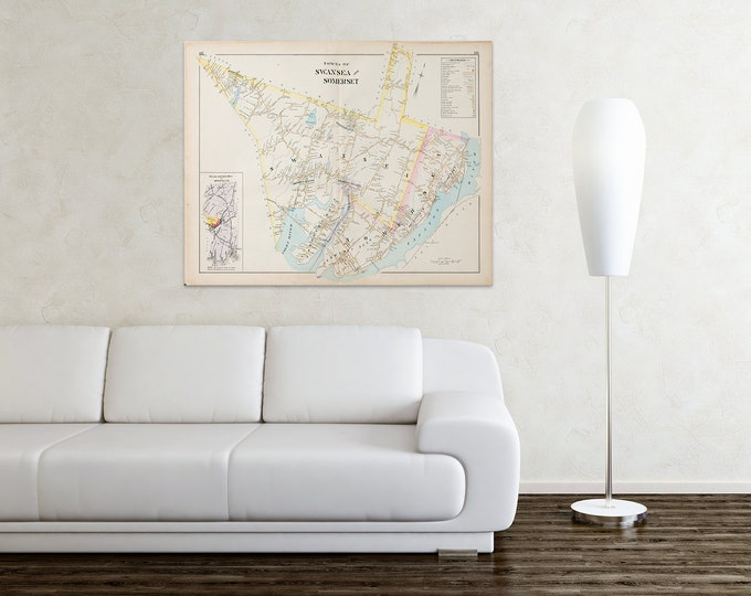 Print of Antique City Map of Swansea Massachusetts on Photo Paper, Matte Paper and Stretched Canvas
