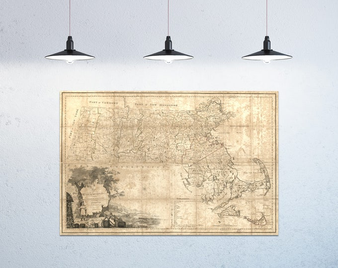 Print of Antique Massachusetts Map on Matte Paper, Photo Paper, or Stretched Canvas. Free Shipping!