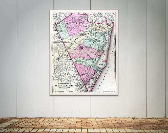 Print of Antique Map of Ocean County New Jersey on Photo Paper Matte Paper or Stretched Canvas
