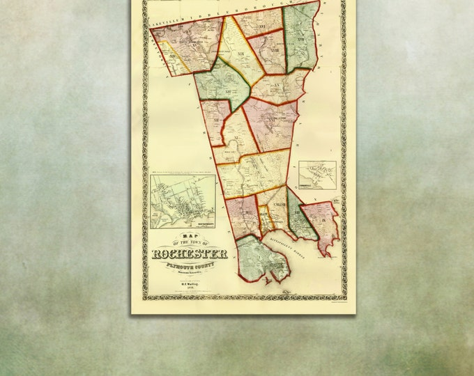 Print of Antique Map of Rochester, Massachusetts on Photo Paper Matte Paper or Stretched Canvas