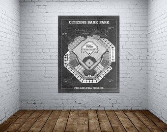 Vintage Print of Citizens Bank Park Seating Charts Phillies Baseball Blueprint on Photo Paper, Matte Paper or Stretched Canvas