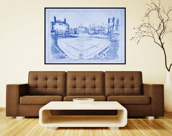 Print of Vintage Tigers Stadium Line Drawing on Photo Paper, Matte paper or Canvas