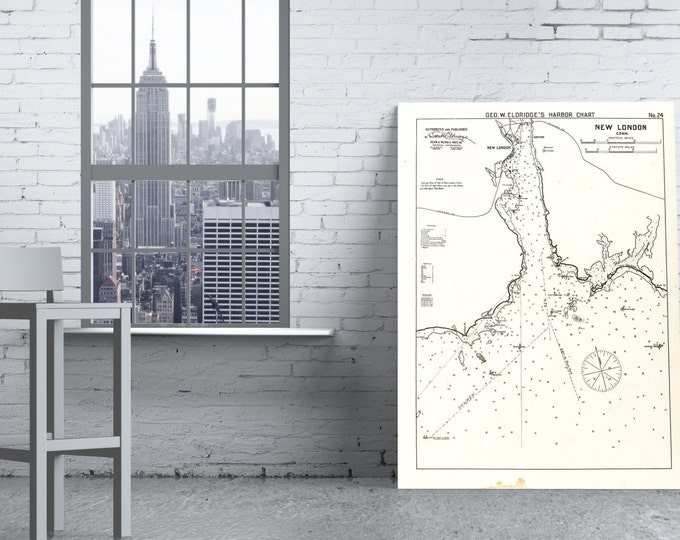 Antique Print of a New London, Connecticut Nautical Chart on your choice of Photo Paper, Matte Paper or Canvas Giclee