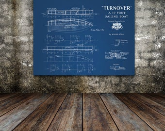 Print of Vintage TURNOVER Boat Blueprint from Motor Boating's Build a Boat Series on Your Choice of Matte Paper, Photo Paper, or Canvas