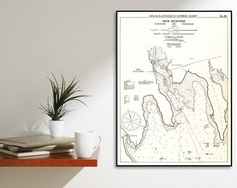 Antique Print of New Bedford, Fairhaven, & Padanaram Map on your choice of Photo Paper, Matte Paper or Canvas Giclee
