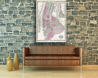 Print of Antique Map of Brooklyn, New York City by Johnson on Photo Paper Matte Paper or Stretched Canvas