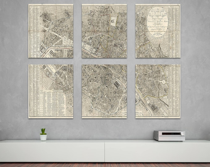 6 and 9 Panel Vintage Antique Print of Detailed Paris Street Map on Matte Paper, Photo Paper or Stretched Canvas