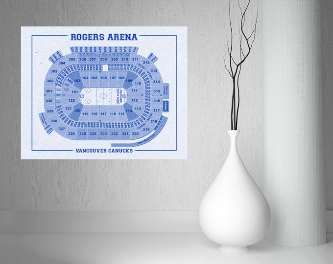 Vintage Vancouver Canucks  Rogers Arena on Photo Paper, Matte paper or Canvas Sports Stadium Tickets Art Home Decor Line Drawing