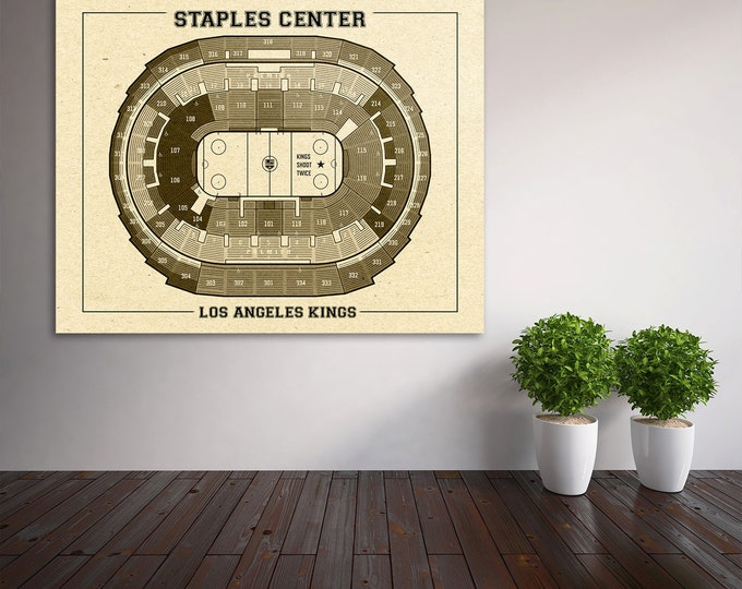 Vintage Los Angeles Kings Staples Center on Photo Paper, Matte paper or Canvas Sports Stadium Tickets Art Home Decor Line Drawing