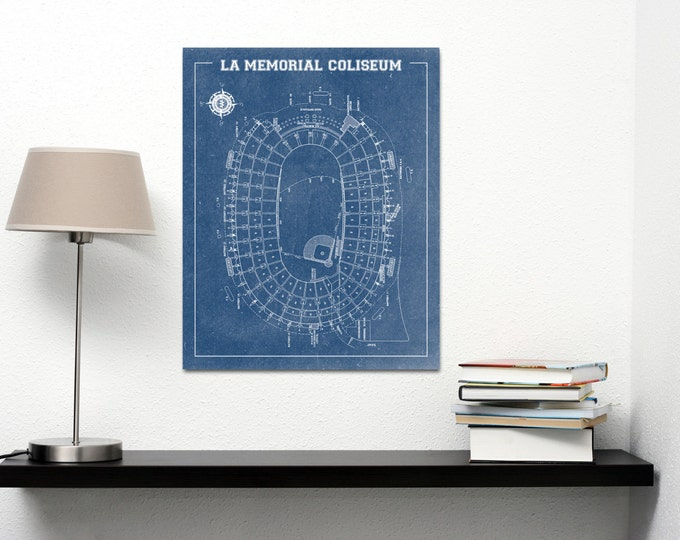 Vintage Style Print of LA Memorial Coliseum on Photo Paper, Matte Paper, or Stretched Canvas