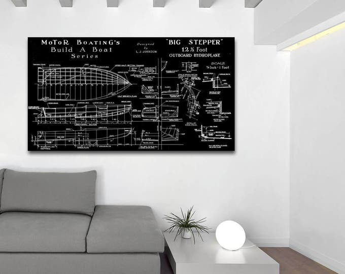 Print of Vintage BIG STEPPER Boat Blueprint from Motor Boating's Build a Boat Series on Your Choice of Matte Paper, Photo Paper, or Canvas