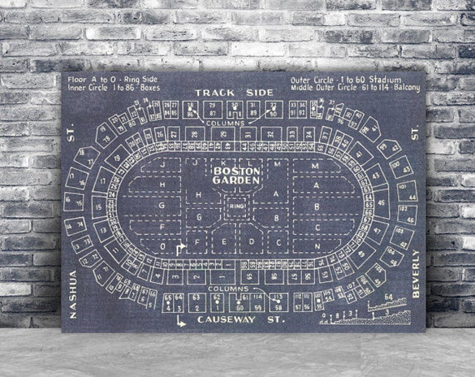 Print of Vintage Boston Garden Seating Chart Seating Chart on Photo Paper, Matte paper or Canvas
