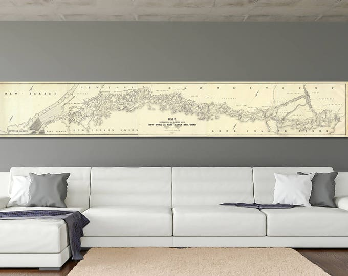 Print of Vintage Style Map of New York and New Haven Railroad on Lustre Photo Paper, Heavy Matte Paper, or Stretched Canvas