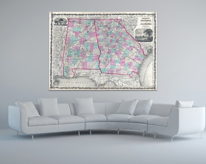 Print of Antique Map of Georgia and Alabama by Johnson and Ward on Photo Paper Matte Paper or Stretched Canvas