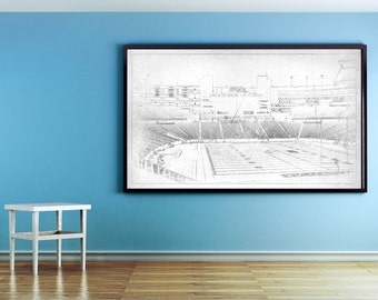 Vintage Print of Gillette Stadium Interior on Photo Paper, Matte Paper, and Stretched Canvas.