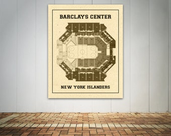 Vintage Barclays Center Diagram on Photo Paper, Matte paper or Canvas Sports Stadium Tickets Art Home Decor Line Drawing New York Islanders