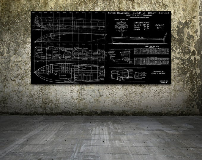 Print of Vintage SUZETTE Boat Blueprint from Motor Boating's Build a Boat Series on Your Choice of Matte Paper, Photo Paper, or Canvas