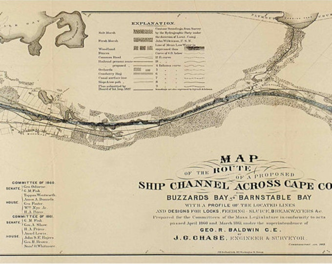 Print of Vintage cape cod channel canal Massachusetts Boston Map on Photo Paper Matte Paper or Canvas Art Decor Giclee Antique