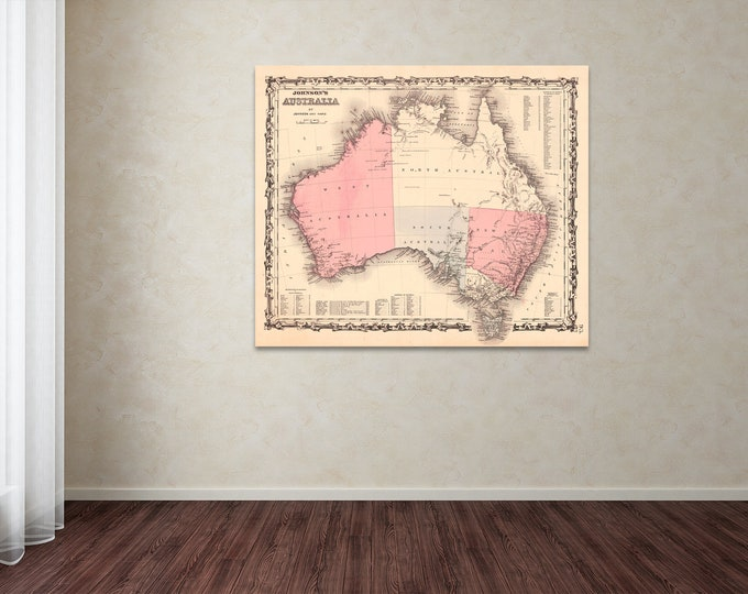 Vintage Style Print of Australia Map on Premium Luster Photo Paper, Heavy Duty Matte Paper, or Stretched Canvas