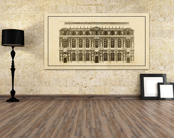 Antique Print of The Palace of Louvre Elevation on your choice of color and Photo Paper, Matte Paper or Canvas Giclee.