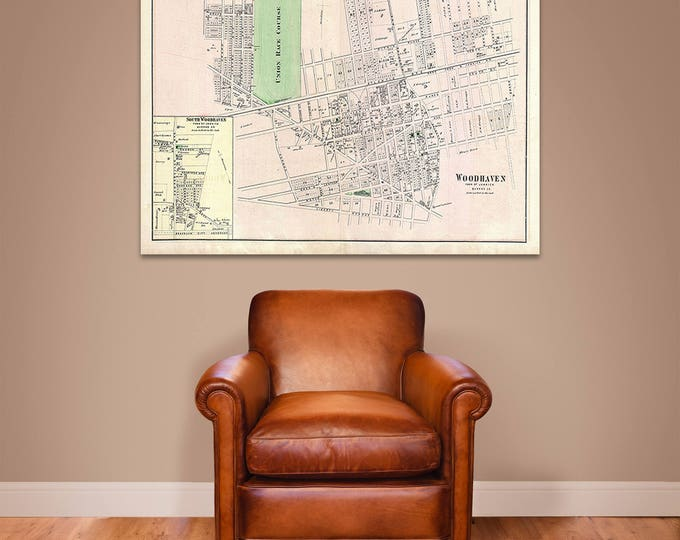 Detailed Vintage Print of Woodhaven New York  Map Chart Print on Matte Paper, Photo Paper or Stretched Canvas