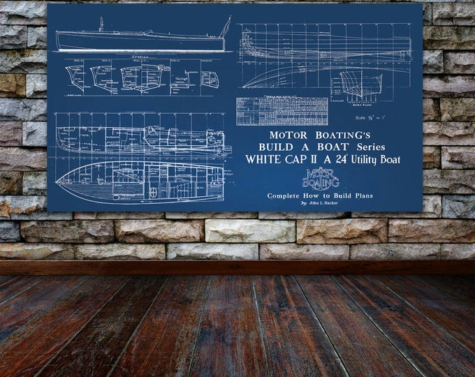 Print of Vintage WHITE CAP II Boat Blueprint from Motor Boating's Build a Boat Series on Your Choice of Matte Paper, Photo Paper, or Canvas