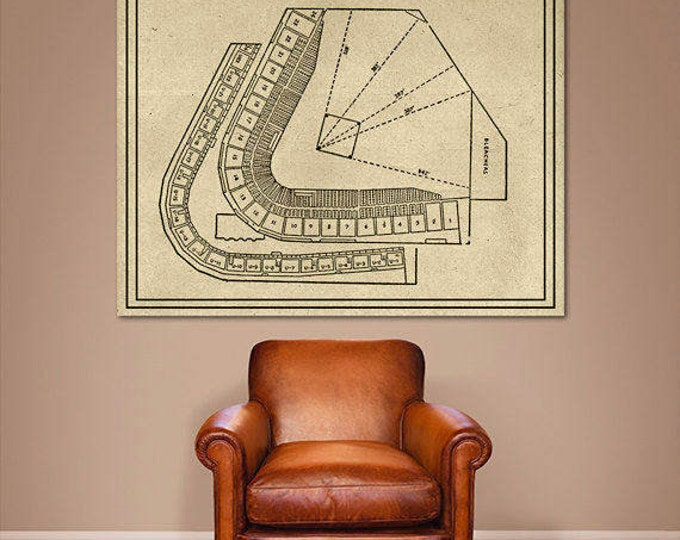 Print of Vintage Crosley Field Cincinnati, Ohio Baseball Seating Chart on Photo Paper, Matte paper or Stretched Canvas