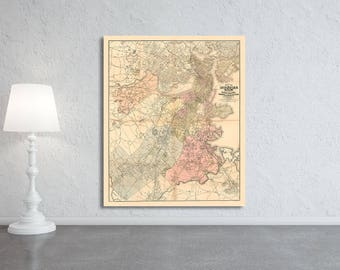 Antique map of Boston Massachusetts on Your Choice of Matte Paper, Photo Paper, Stretched Canvas